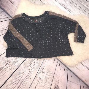 Pete & Greta Linen Dolman Sleeve Sweater Crop Top